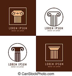 Business corporate identity with columns. Ancient column...