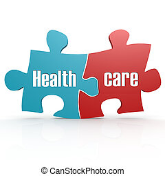 Blue and red with healthcare puzzle, 3D rendering