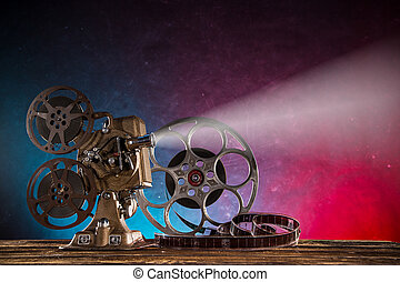 Old style movie projector, close-up. - Old style movie...