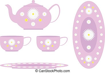 Tea set decorated with flowers, cups, kettle and large plate...