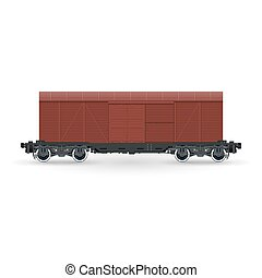 Closed Wagon Isolated on White Background, Railway and Cargo...