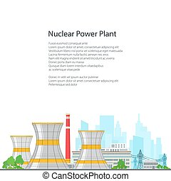 Thermal Power Station on White Background - Nuclear Power...