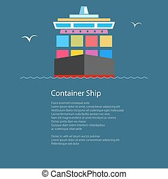 Front View of the Container Ship and Text - Front View of...