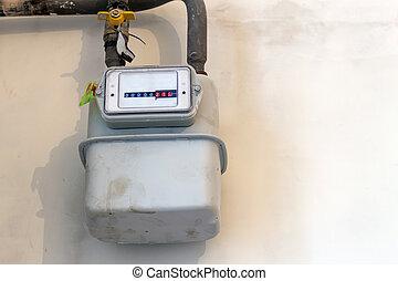 Gas meter in a house under renewal. Indoor gas meter used...