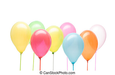 happy group - landscape image, group of colorful balloons...