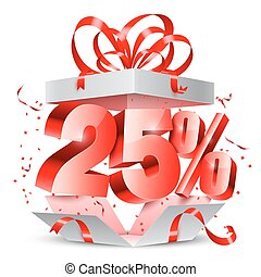 Twenty Five Percent Discount Gift - Opened gift box with 25...