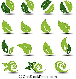 Vector natural rounded symbols with leaf. Bio elements.