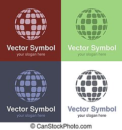 Vector set of abstract green, red, blue and black white logo globe design