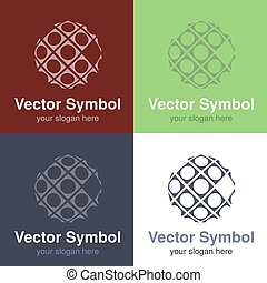 Vector set of abstract green, red, blue and black white logo design of globe, emblems for internet connection or web - circles, rounded symbols