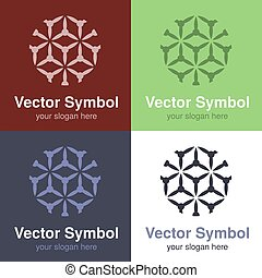 Vector set of abstract green, red, blue and black white logo design, emblems for various centers - circles, rounded symbols