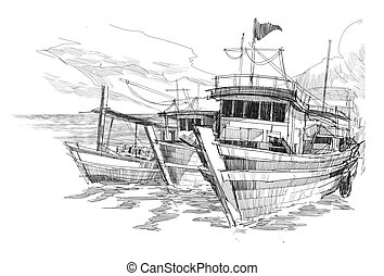 fishing boats in a harbor - rough sketch of fishing boats in...