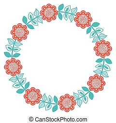 Scandinavian folk art round floral pattern - Finnish,...