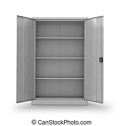 Metal cabinet for documents on a white background. 3d...