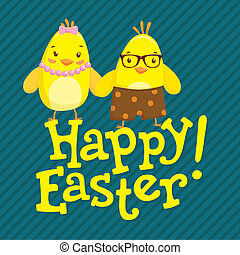 Happy Easter postcard with two cute chickens. - Happy Easter...