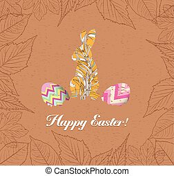 happy easter eggs and bunnys with leaves greeting card