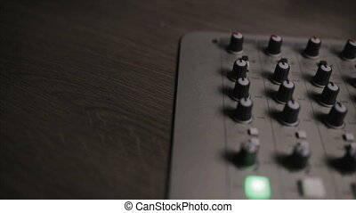 Mixing console also called audio mixer, sound board, mixing deck or mixer is an electronic device