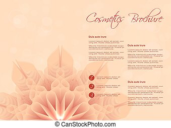Vector orange background with flower design for cosmetic brochure