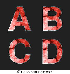Vector red font illuminated with reflection effect on black background - set 1. Capital initial letter A, B, C, D for monograms and logos. Glittering style alphabet.