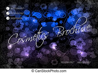 Vector black blue purple background with flower design for cosmetic brochure