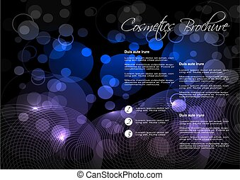 Vector black blue purple background with circular design for cosmetic brochure