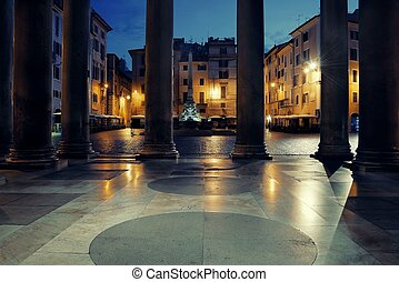 Pantheon - Street view from Pantheon at night. It is one of...