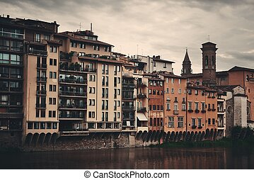Arno River buildings - Italian style old buildings along...
