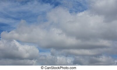 Blue sky cloud, Timelapse - Nature cloudscape with blue sky...