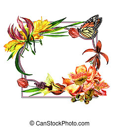Tropical Hawaii leaves and flowers frame in a watercolor style isolated.