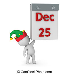3D Character with Calendar showing December 25th - 3D...