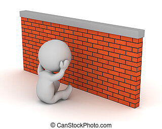 Depressed 3D Character with Brick Wall