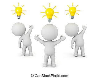 3D Characters with Light Bulb Ideas - 3D characters with...