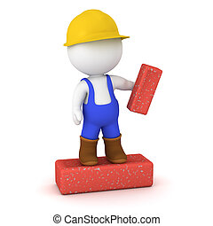 3D Character in Overalls Standing on a Large Brick