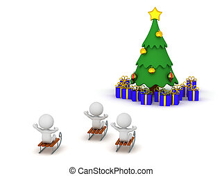 3D Characters Riding Sleds Toward Christmas Tree with Gifts...