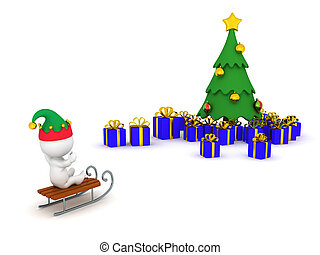 3D Character Riding Sled Toward Christmas Tree with Gifts -...