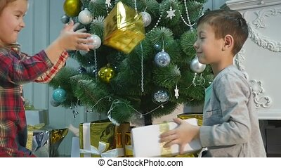 Christmas gifts kids throw at each other