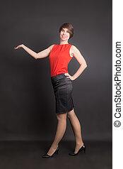 girl in a black skirt
