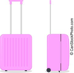 Vector pink travel bag. Isolated on white.