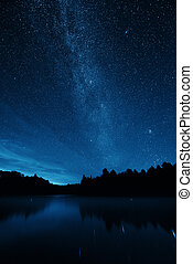 Milky Way over lake in Stowe, Vermont.