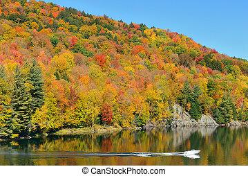 Lake Autumn Foliage - Lake with Autumn foliage and mountains...