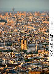 Paris rooftop - Paris city rooftop tilt-shift view at...