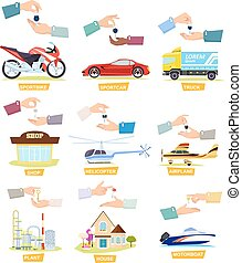 Set of Icons with Selling, Buying Cars, Houses - Set of...