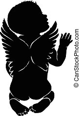 Angel baby with wings - Angel baby silhouette with wings.