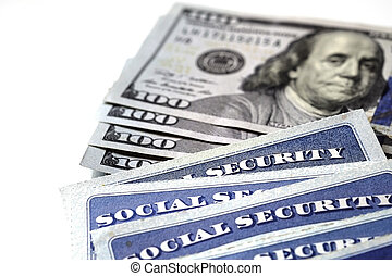 Social Security Cards in a Row Pile for Retirement