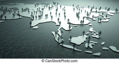 Asia Population - 3D illustration of people on the map,...
