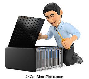 3D Information technology technician repairing a server