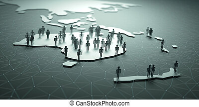 Oceania Population - 3D illustration of people on the map,...
