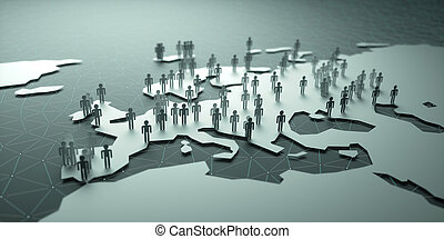 Europe Population - 3D illustration of people on the map,...