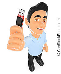 3D Information technology technician with a usb memory stick...