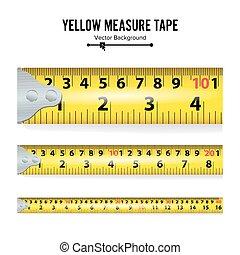 Yellow Measure Tape Vector. Measure Tool Equipment In...