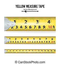 Yellow Measure Tape On White Background Vector illustration